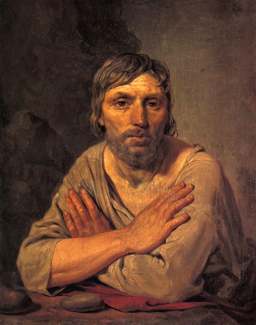 Алексей Гаврилович Венецианов. Крестьянин со скрещенными руками