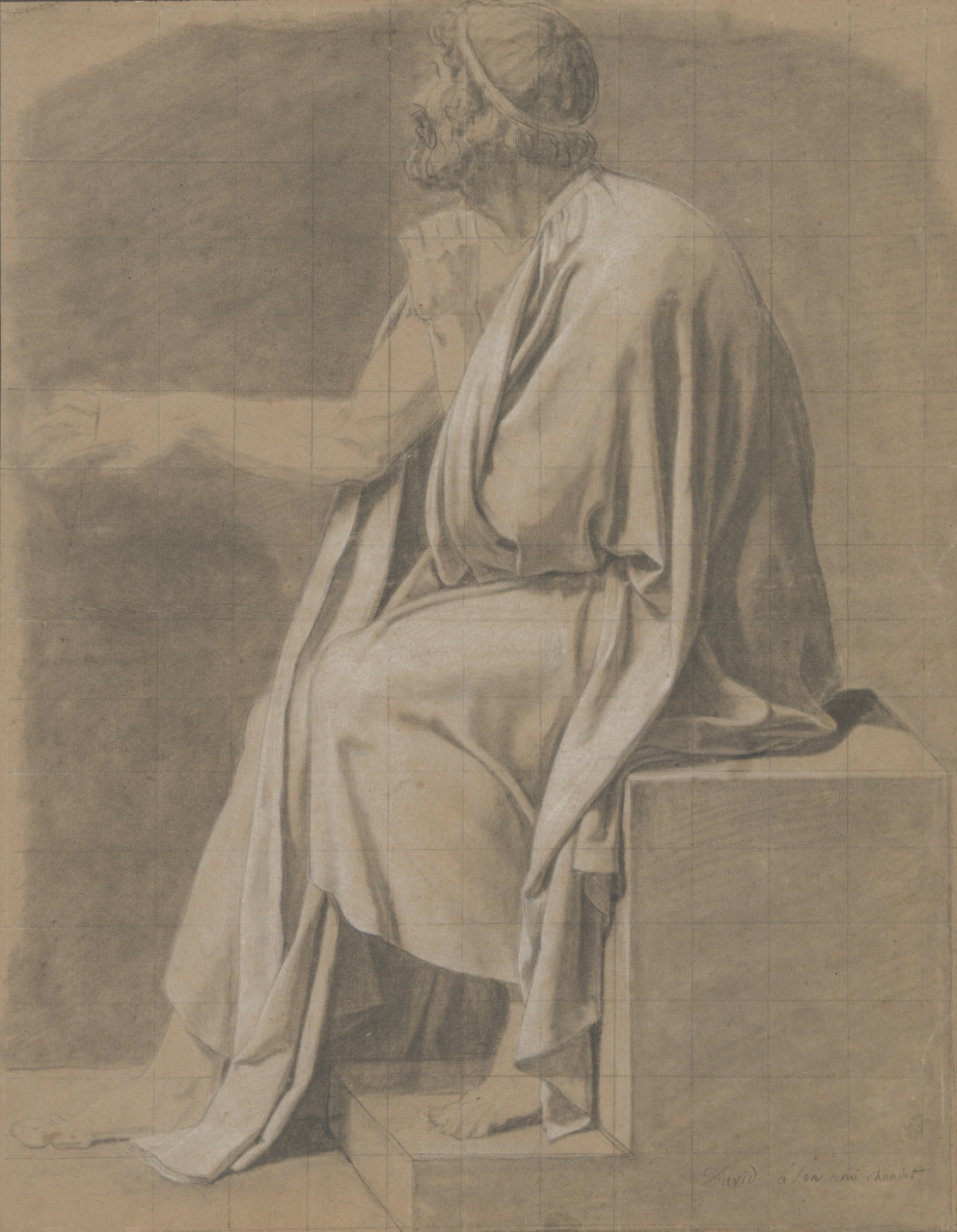 "Jacques-Louis David. Sitting the man in the drape. Sketch for the painting ""Death of Socrates"""