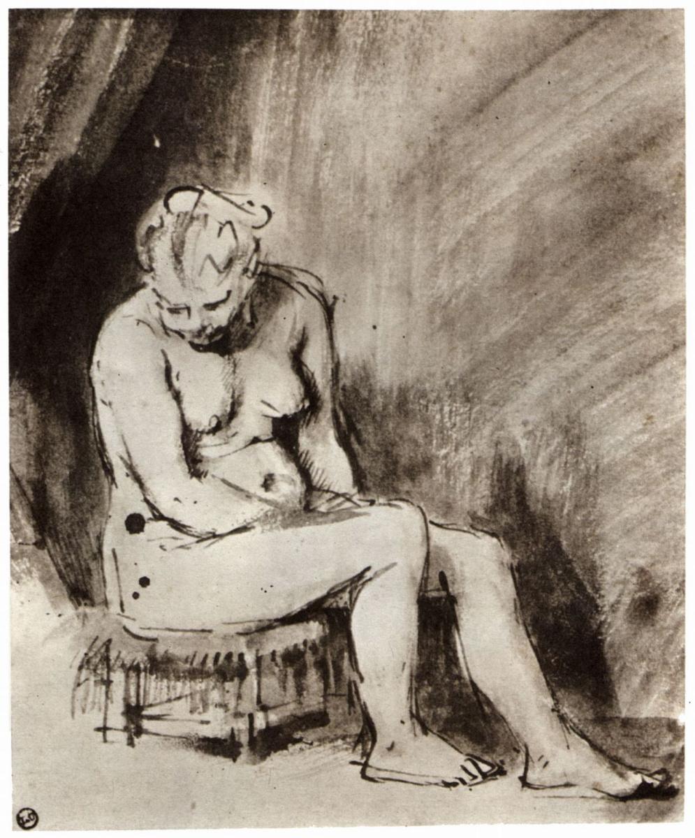 Рембрандт Харменс ван Рейн. Обнаженная, сидящая на табуретке
