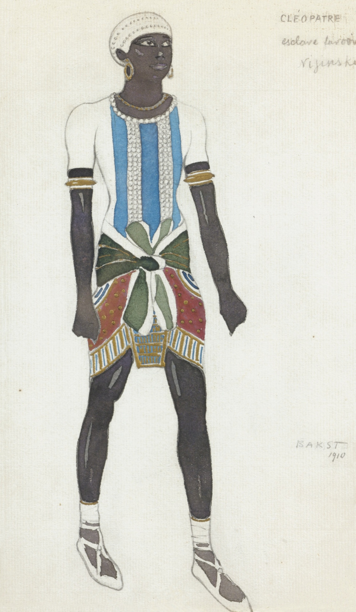 "Lev Samoilovich Bakst (Leon Bakst). Slave. Sketch for the costume of Vaslav Nijinsky for the ballet ""Cleopatra"""