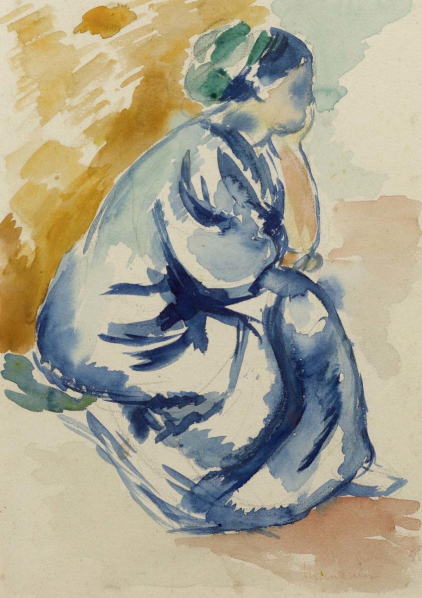 Henri Manguin. Jeanne seated in a blue dress