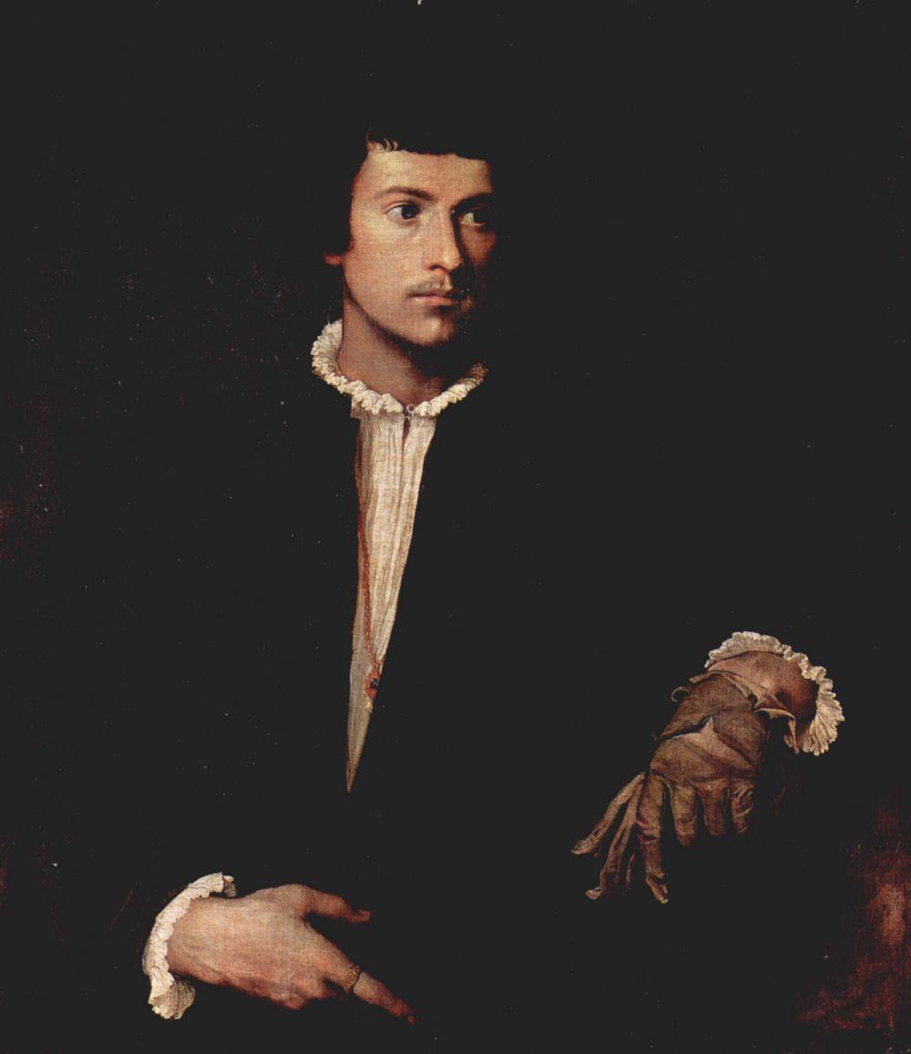 Тициан Вечеллио. Молодой человек в перчатке