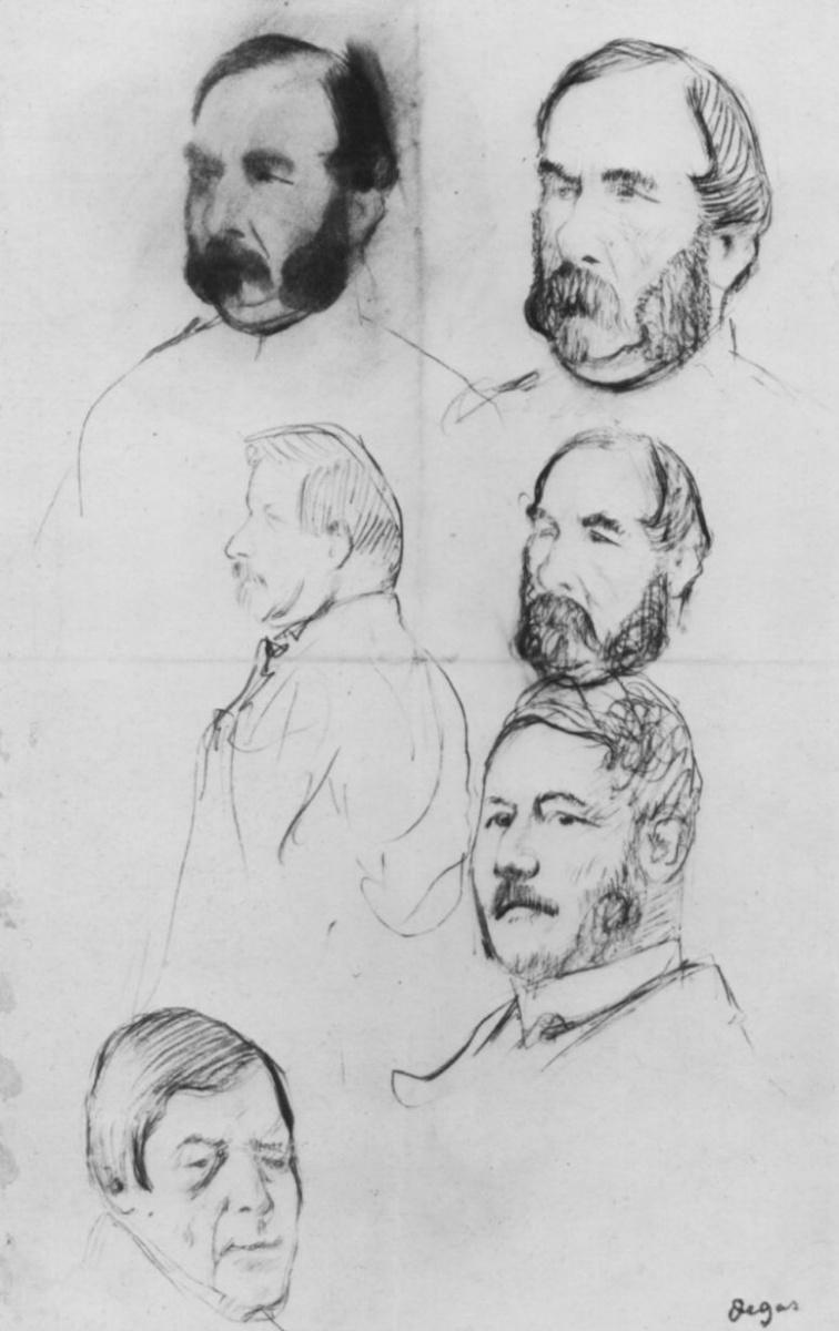 Эдгар Дега. Лист этюдов с шестью портретами