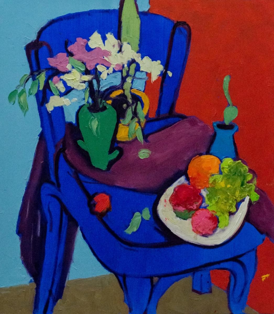 Angelina Gafinie. Still life on a blue chair