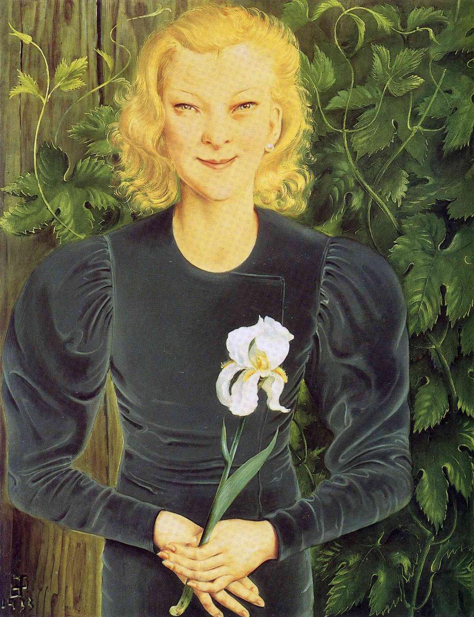 Отто Дикс. Портрет женщины с ирисом