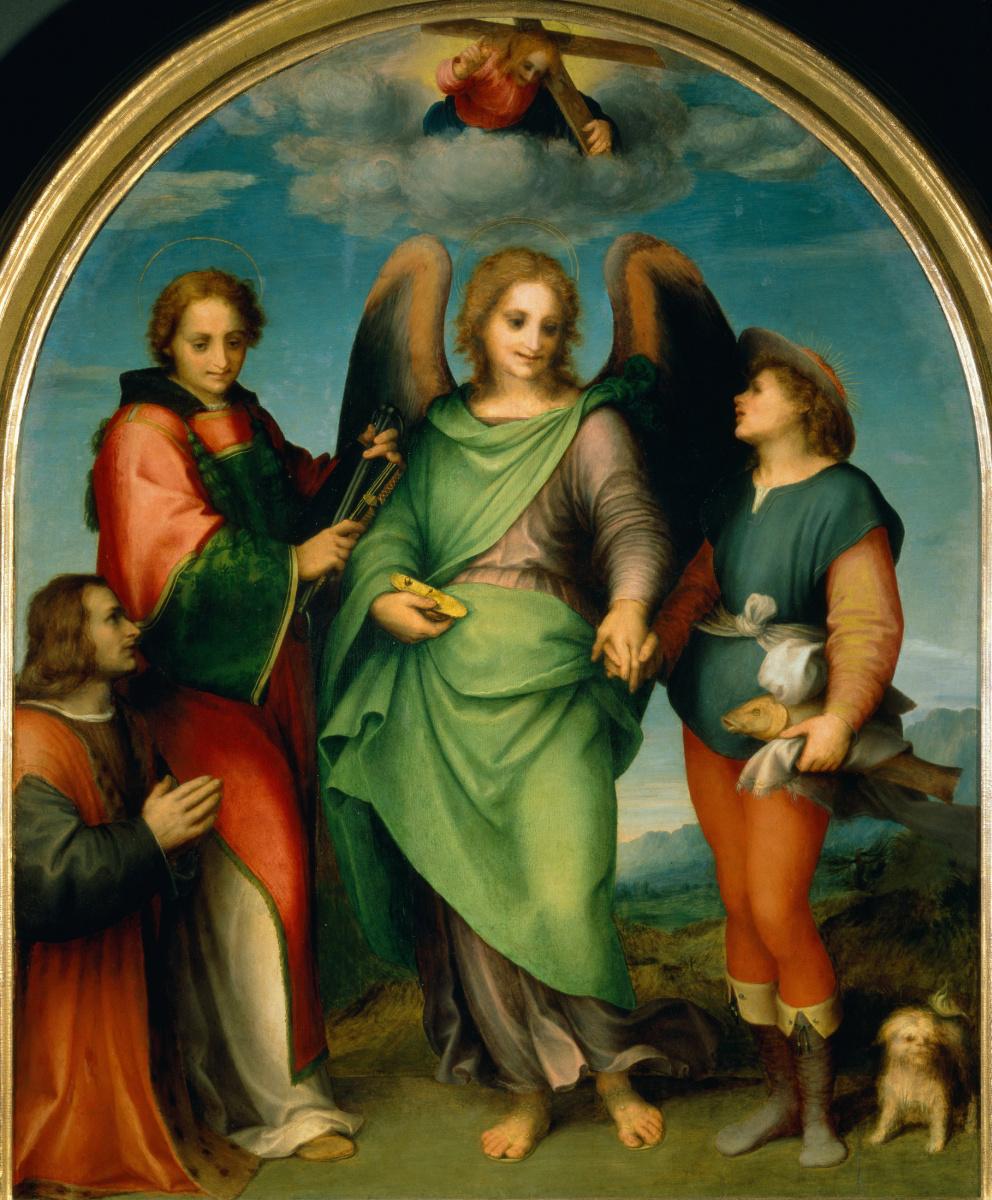 Андреа дель Сарто. Архангел Рафаил с Товием, Святым Леонардо и донатором, Леонардо ди Лоренцо Морелли