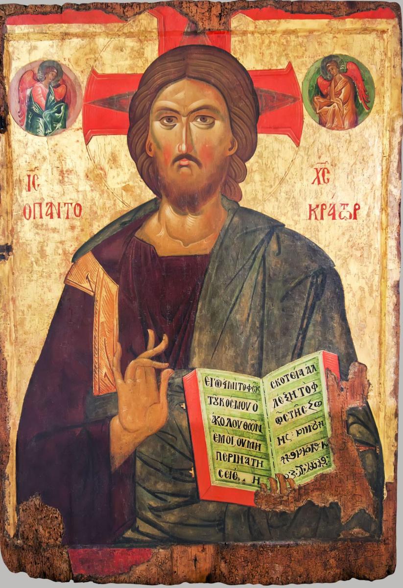 Болгарская икона. Христос Пантократор. Двусторонняя икона. Лицевая сторона