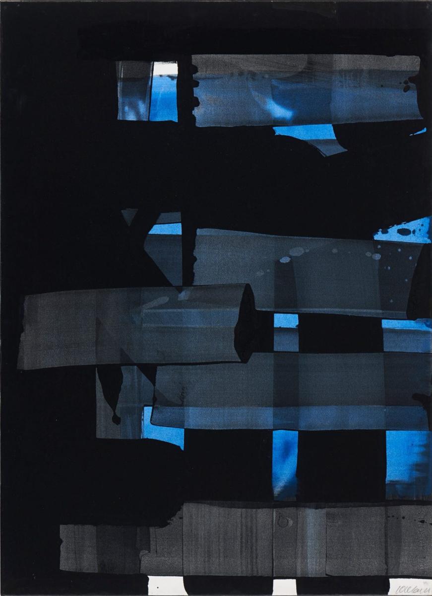 Pierre Soulaj. Untitled (Black and Blue)
