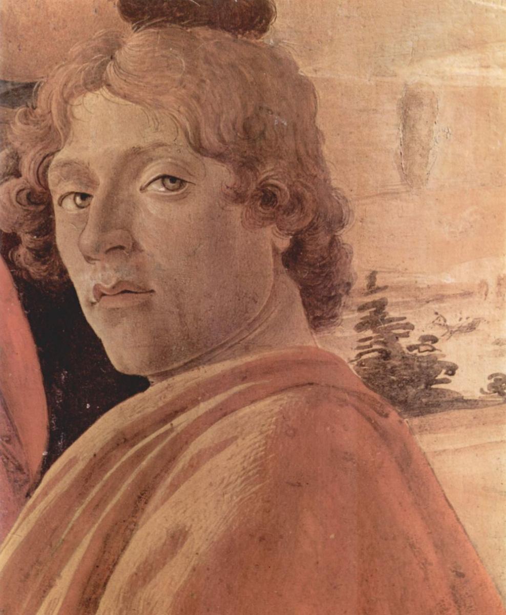 """Сандро Боттичелли. Автопортрет, фрагмент алтарной композиции """"Поклонение волхвов"""""""
