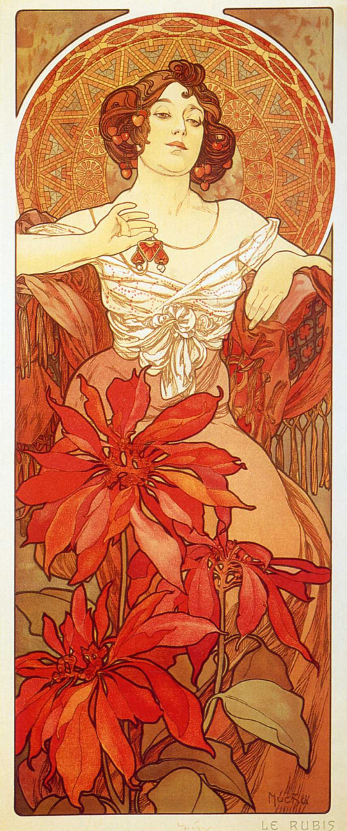 Alfons Mucha Ruby From The Series Precious Stones