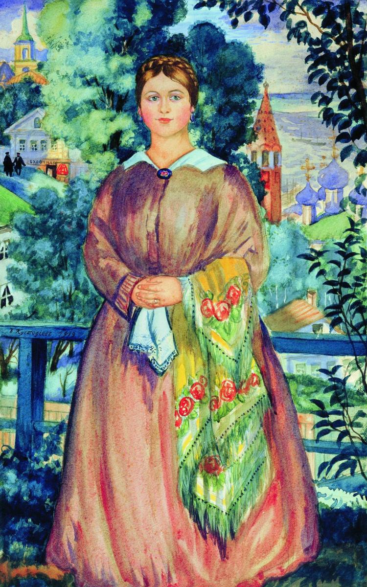 Борис Михайлович Кустодиев. Купчиха. Вариант картины 1915 г.