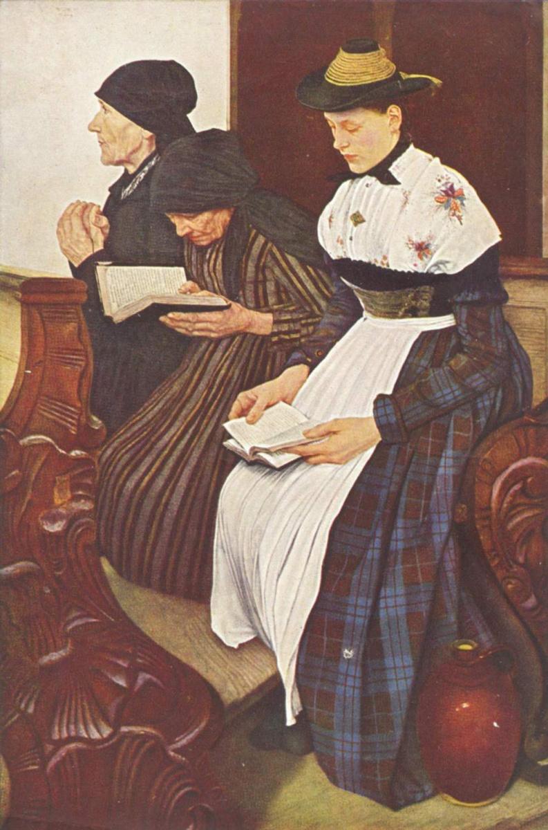 Вильгельм Мария Хубертус Лайбль. Три женщины в церкви