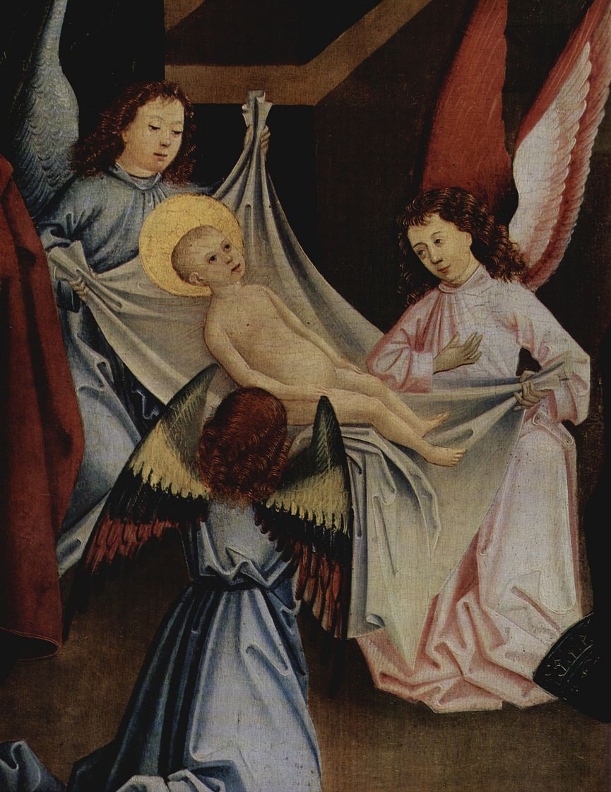 Фридрих Херлин. Рождество, Поклонение младенцу Христу, деталь: Ангел несет младенца Христа