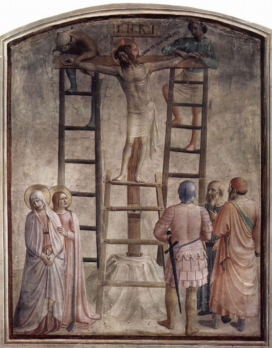 Фра Беато Анджелико. Цикл фресок доминиканского монастыря Сан Марко во Флоренции, сцена: Прибивание Христа к кресту