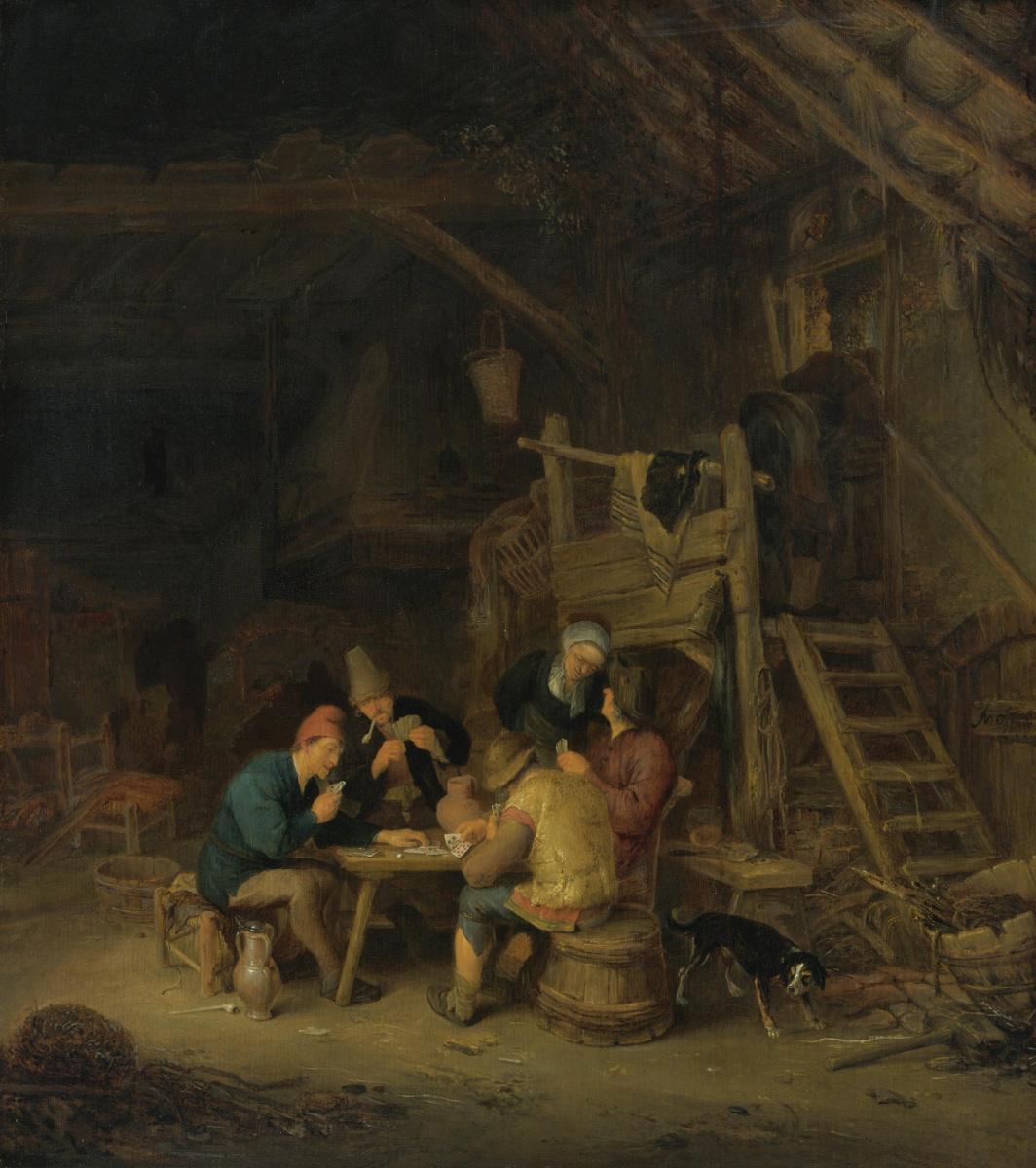 Adrian Jans van Ostade. Peasants playing cards