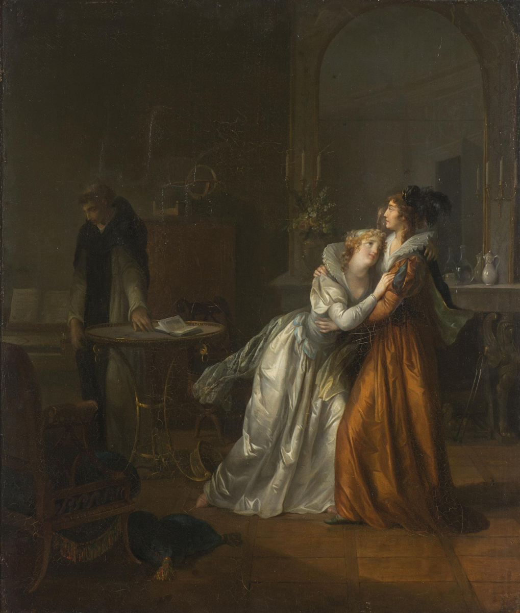 Jean-Frederick Schall. Romantic scene (Monk Ambrosio, Antonia and her mother Elvira de las Cisternas)