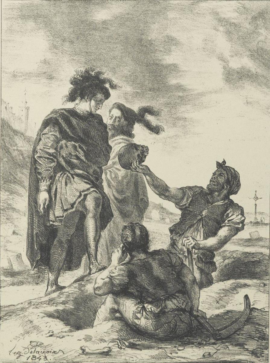 Эжен Делакруа. Гамлет и Горацио перед могильщиками