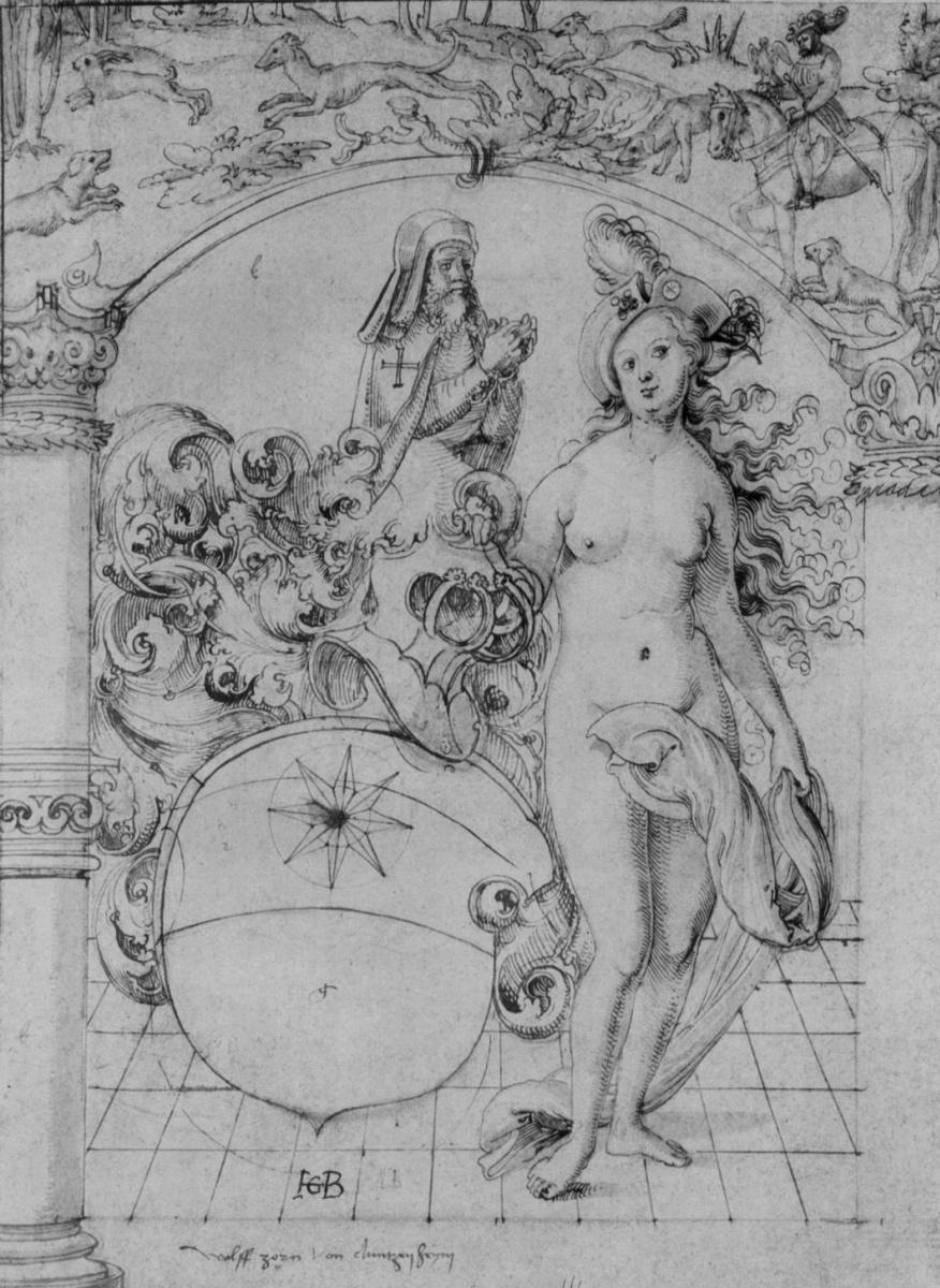 Ханс Бальдунг. Герб Вольфа Цорна фон Дунценхайм, с обнаженной, держащей щит, над аркой – охота на зайца