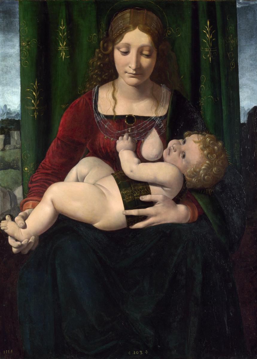 Джованни Антонио Болтраффио. Дева с младенцем (портрет Изабеллы Арагонской)