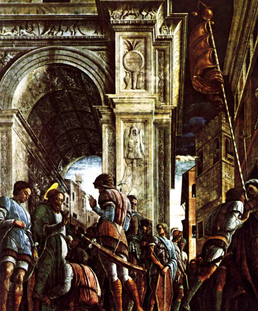 Andrea Mantegna. The procession of St. James to the penalty. The fresco of the chapel of Ovetari in the Church of the Eremitani in Padua