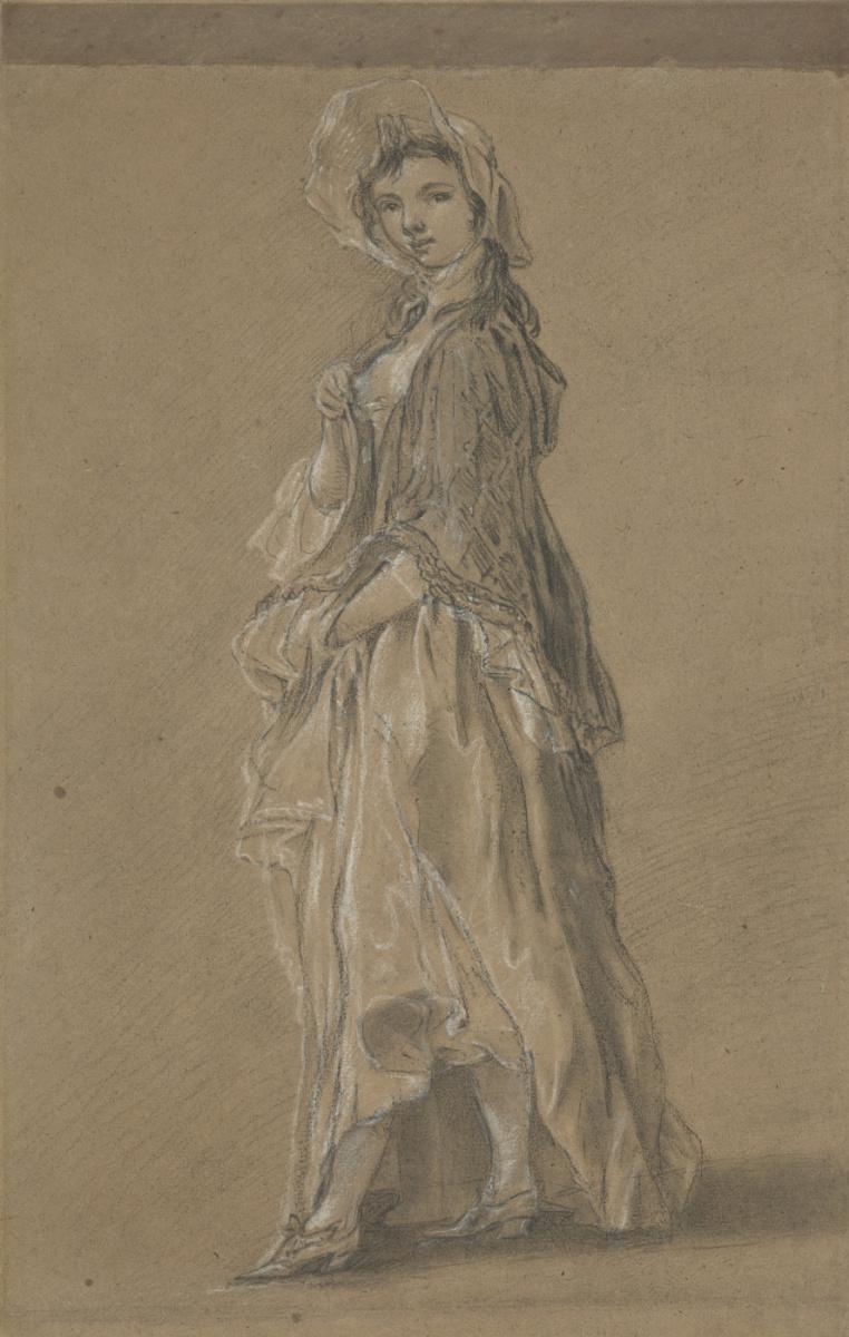 Thomas Gainsborough. Portrait of a standing girl. Sketch