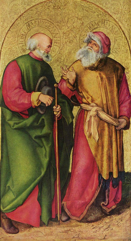 Альбрехт Дюрер. Алтарь трех святых королей, левая створка, сцена: Иосиф и Иоахим