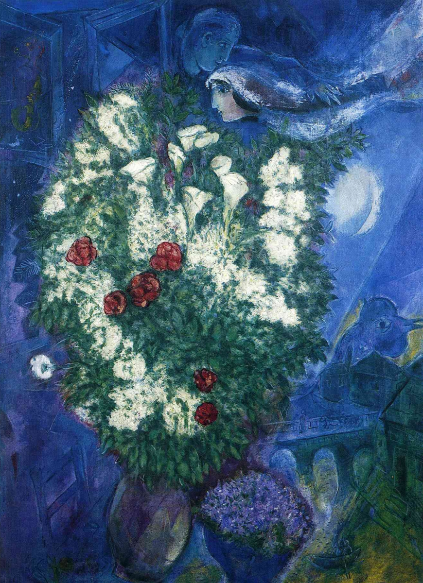 Marc Chagall. Bouquet with lilies and flying lovers