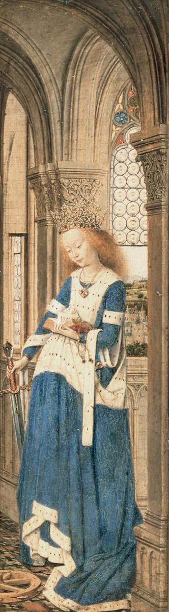 Ян ван Эйк. Дрезденский триптих. Святая Екатерина Александрийская (фрагмент)