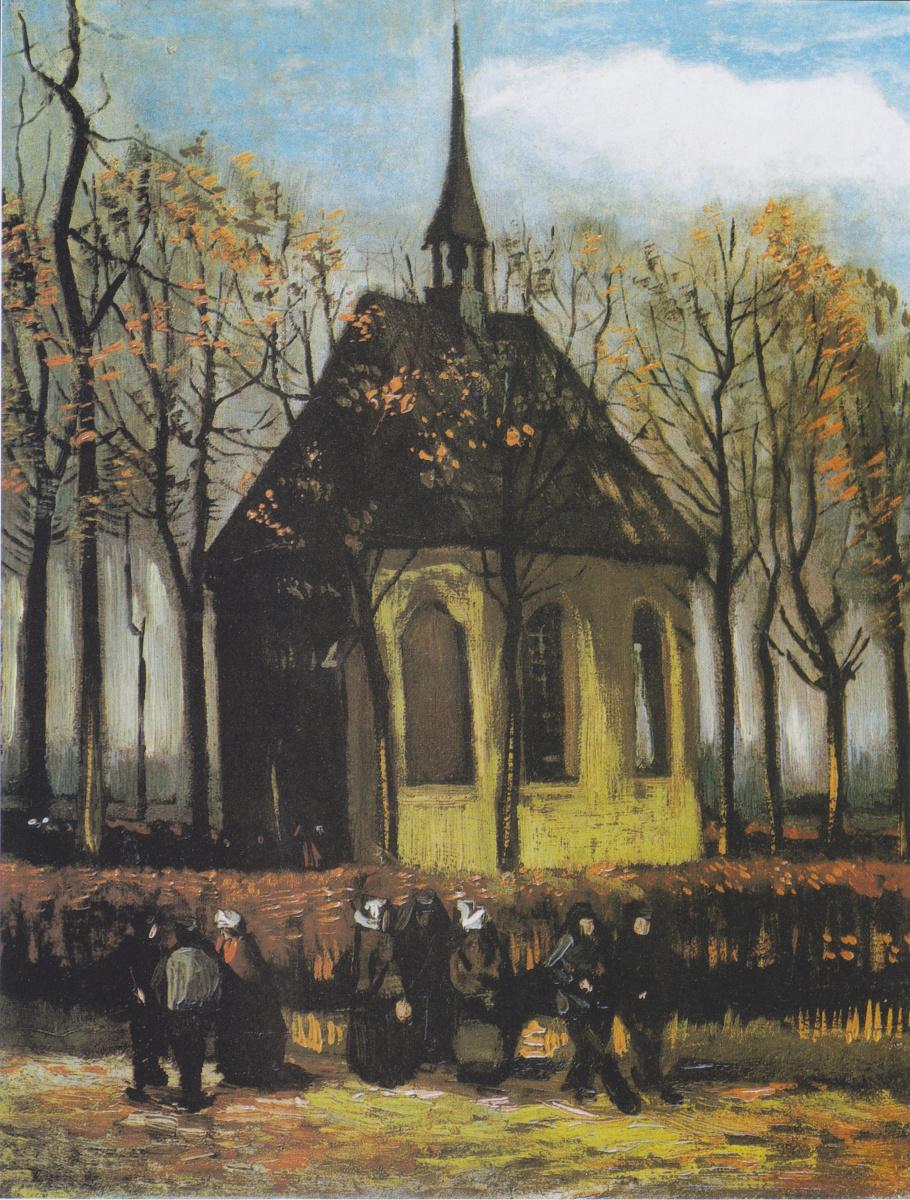 Винсент Ван Гог. Выход из протестантской церкви в Нюэнене