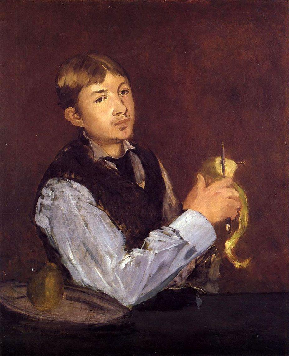 Эдуар Мане. Молодой человек чистит грушу