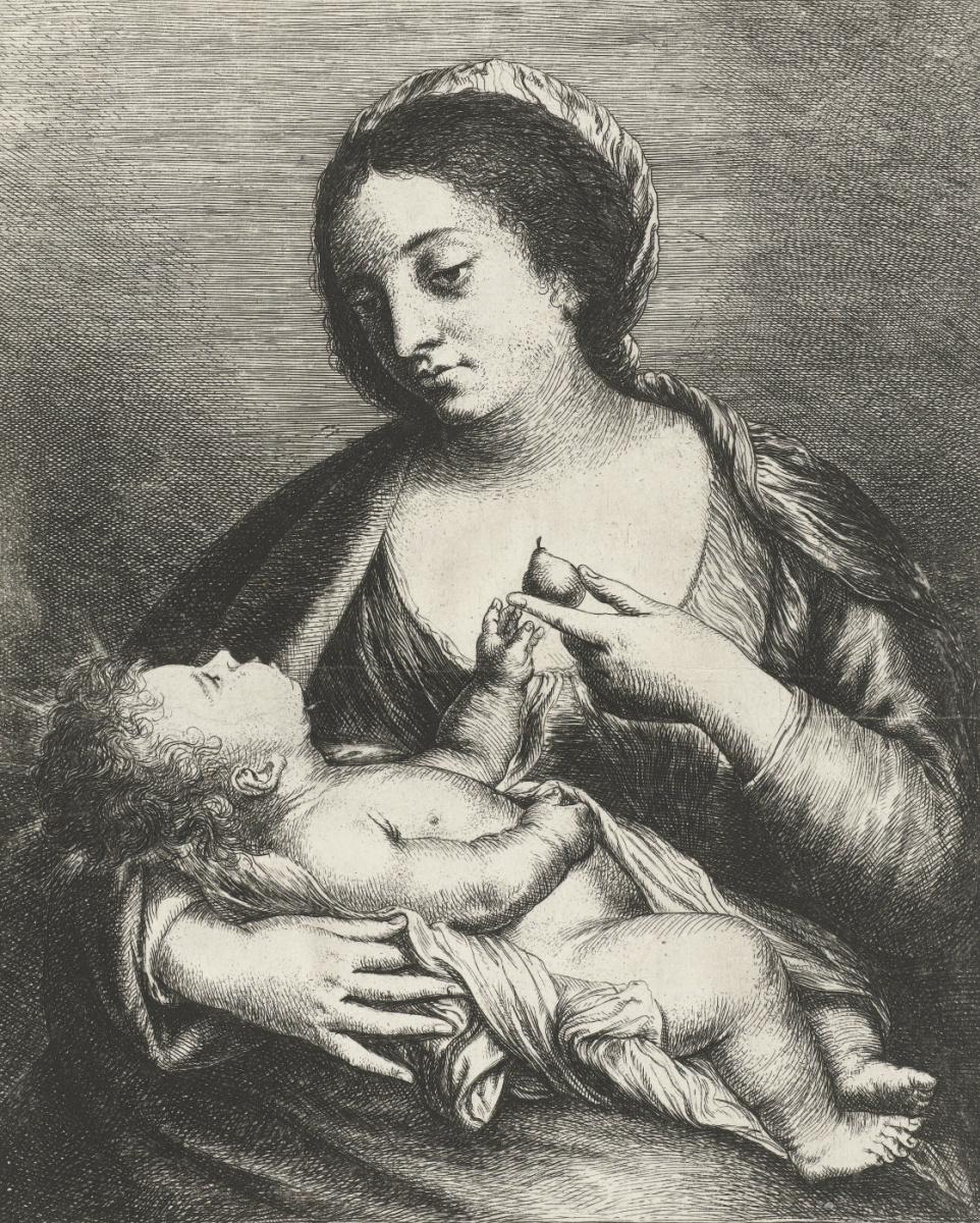 Ян Ливенс. Мария с младенцем и грушей