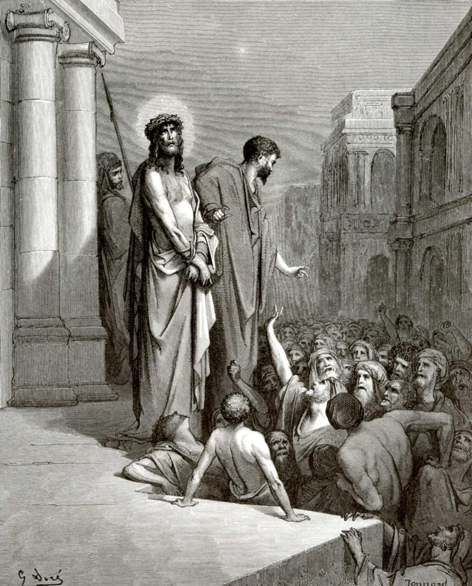Поль Гюстав Доре. Иллюстрация к Библии: Пилат выводит Иисуса к народу
