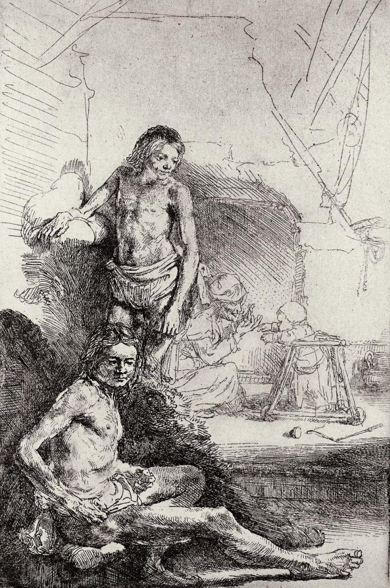 Рембрандт Ван Рейн. Два обнаженных натурщика