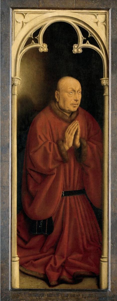 Ян ван Эйк. Гентский алтарь с закрытыми створками. Донатор (фрагмент)