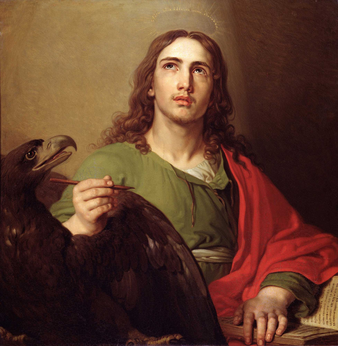 """Vladimir Lukich Borovikovsky. The Evangelist John. From """"Annunciation"""". The icon of Tsar's gates of main iconostasis of the Kazan Cathedral in St. Petersburg"""