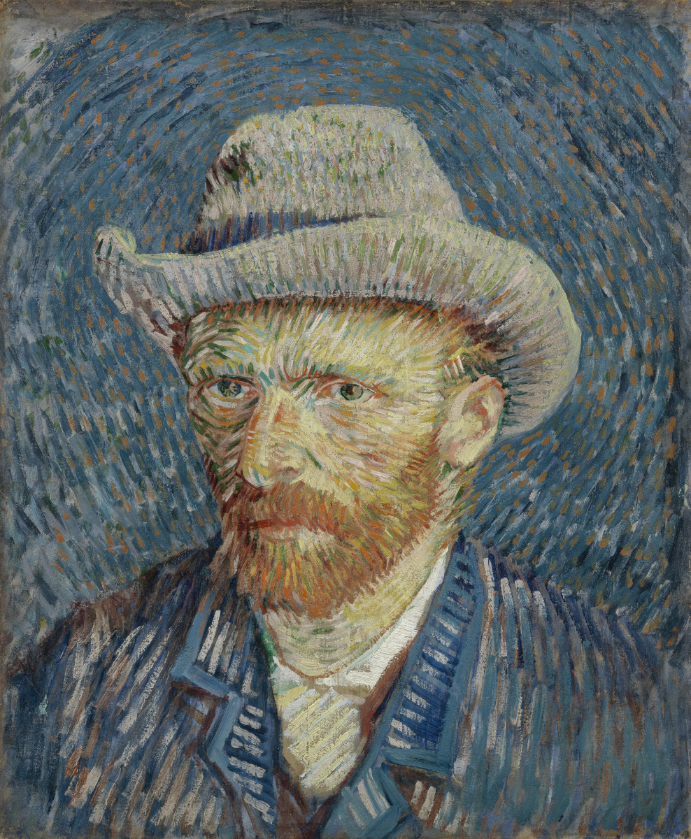 Vincent van Gogh. Self-portrait in a gray felt hat