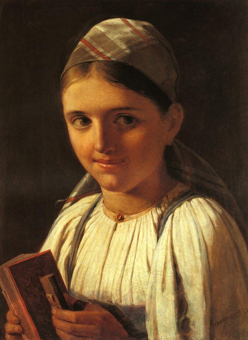 Alexey Gavrilovich Venetsianov. The girl with the accordion