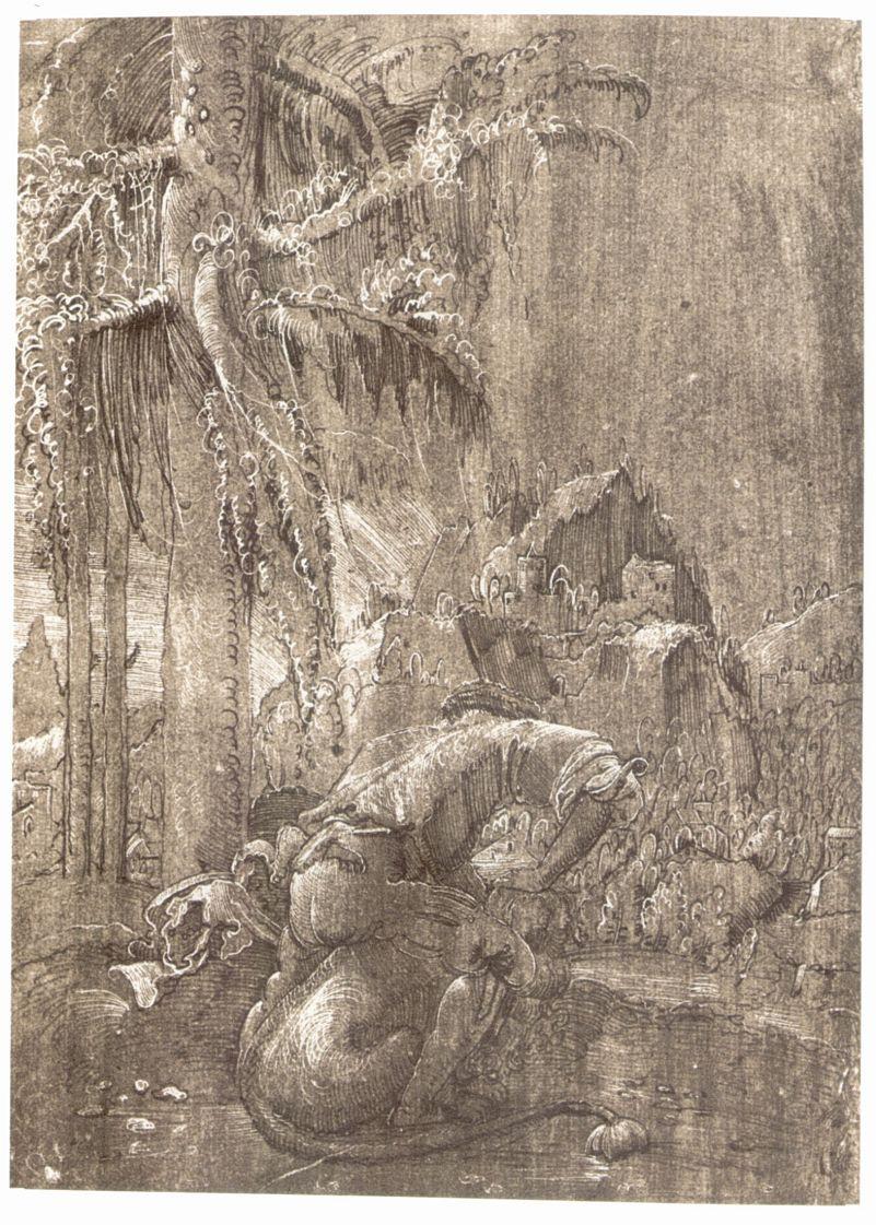 Альбрехт Альтдорфер. Самсон, раздирающий пасть льва