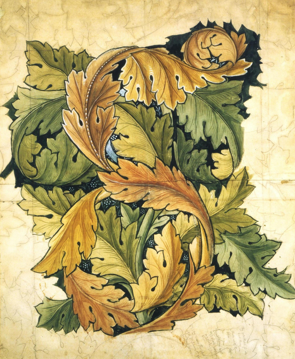 William Morris. Interlaced leaves. Sketch