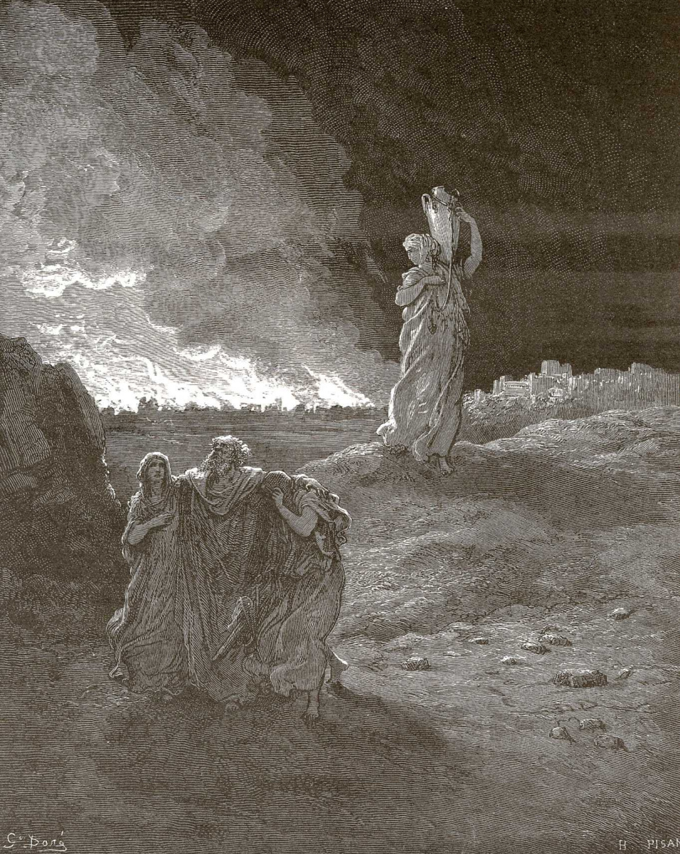 Поль Гюстав Доре. Иллюстрации к Библии: семья Лота покидает Содом