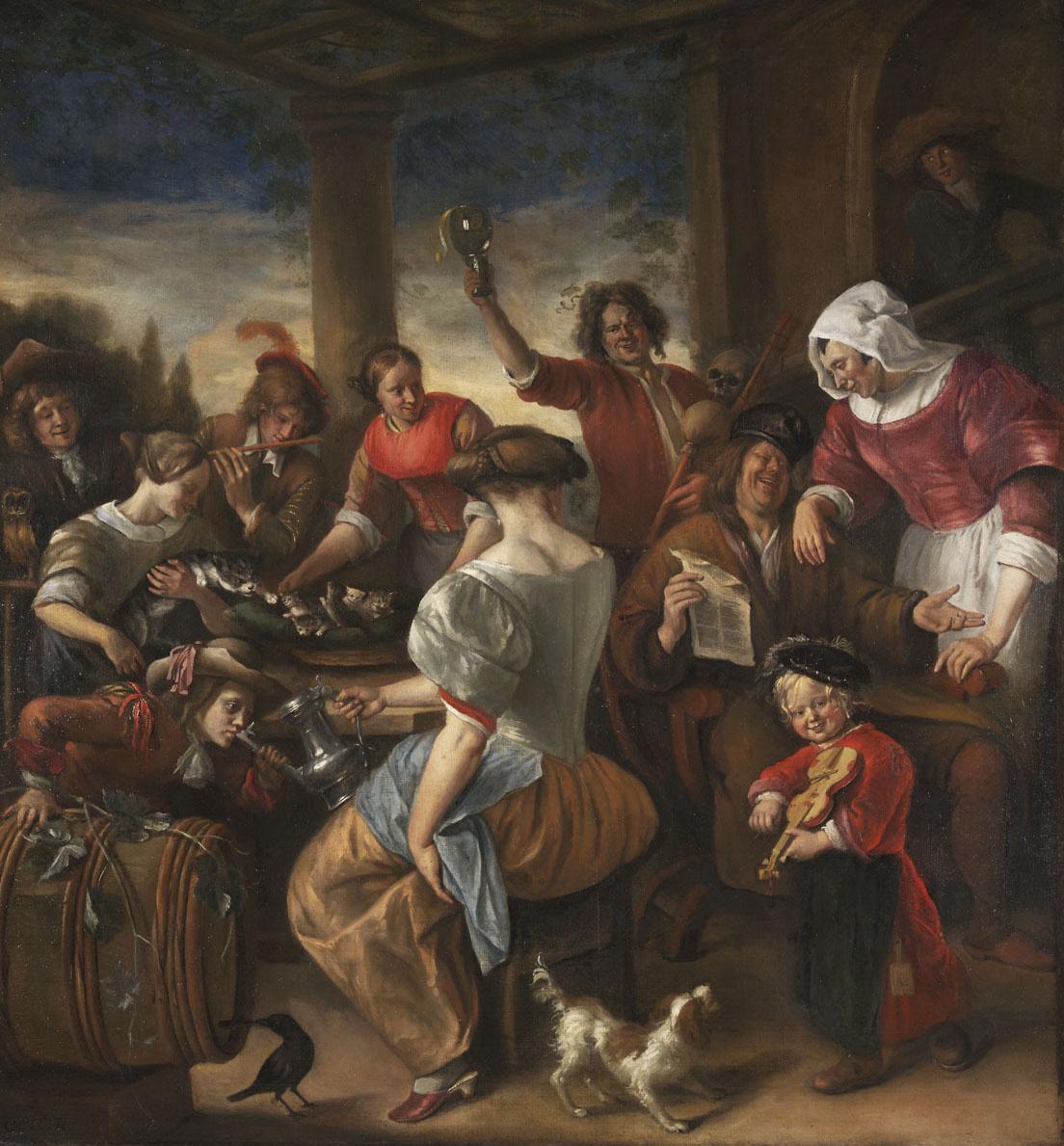 Jan Steen. Merry company in the gazebo (family Cat)