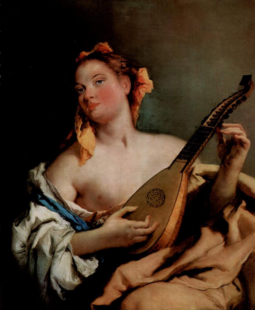 Джованни Баттиста Тьеполо. Молодая певица с мандолиной