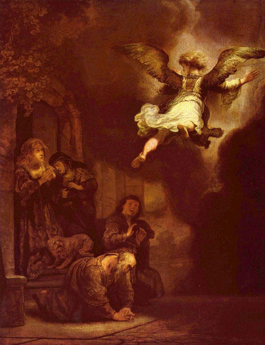 Рембрандт Ван Рейн. Ангел, покидающий семью Товии