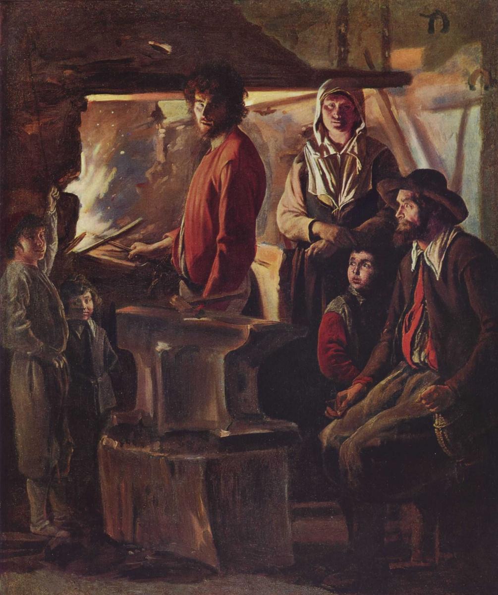 Антуан, Луи и Матье Ленен. В кузнице