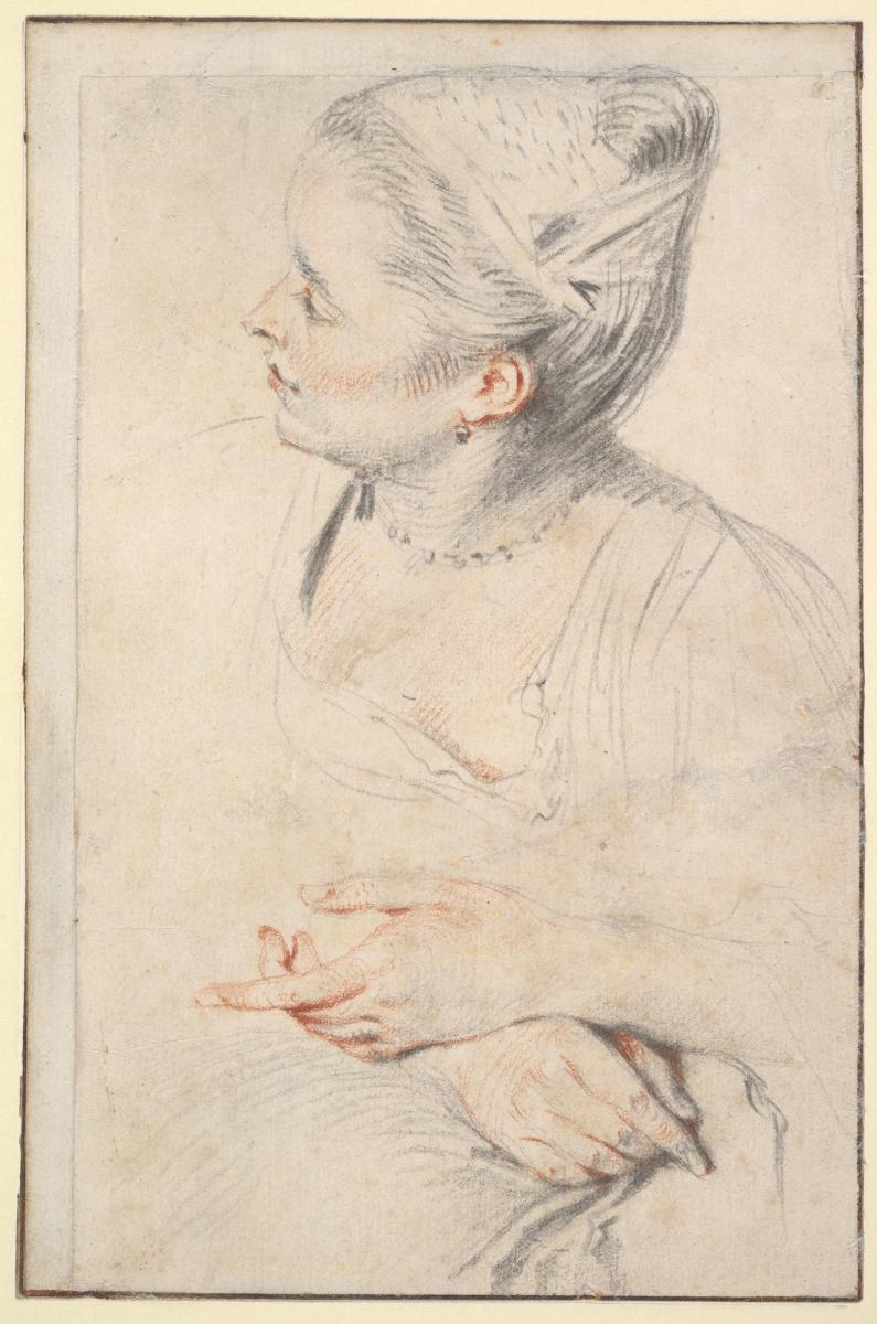 Антуан Ватто. Эскиз женской головы и рук