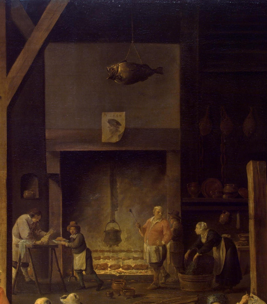 David Teniers the Younger. Kitchen. Fragment: Allegory of Fire