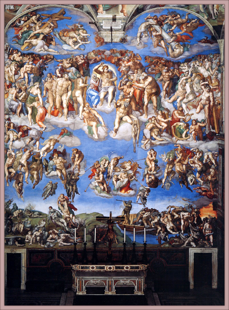 Микеланджело Буонарроти. Алтарная стена Сикстинской капеллы. Фреска Страшный суд.