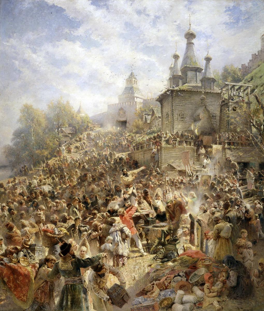 Константин Егорович Маковский. Минин на площади Нижнего Новгорода, призывающий народ к пожертвованиям