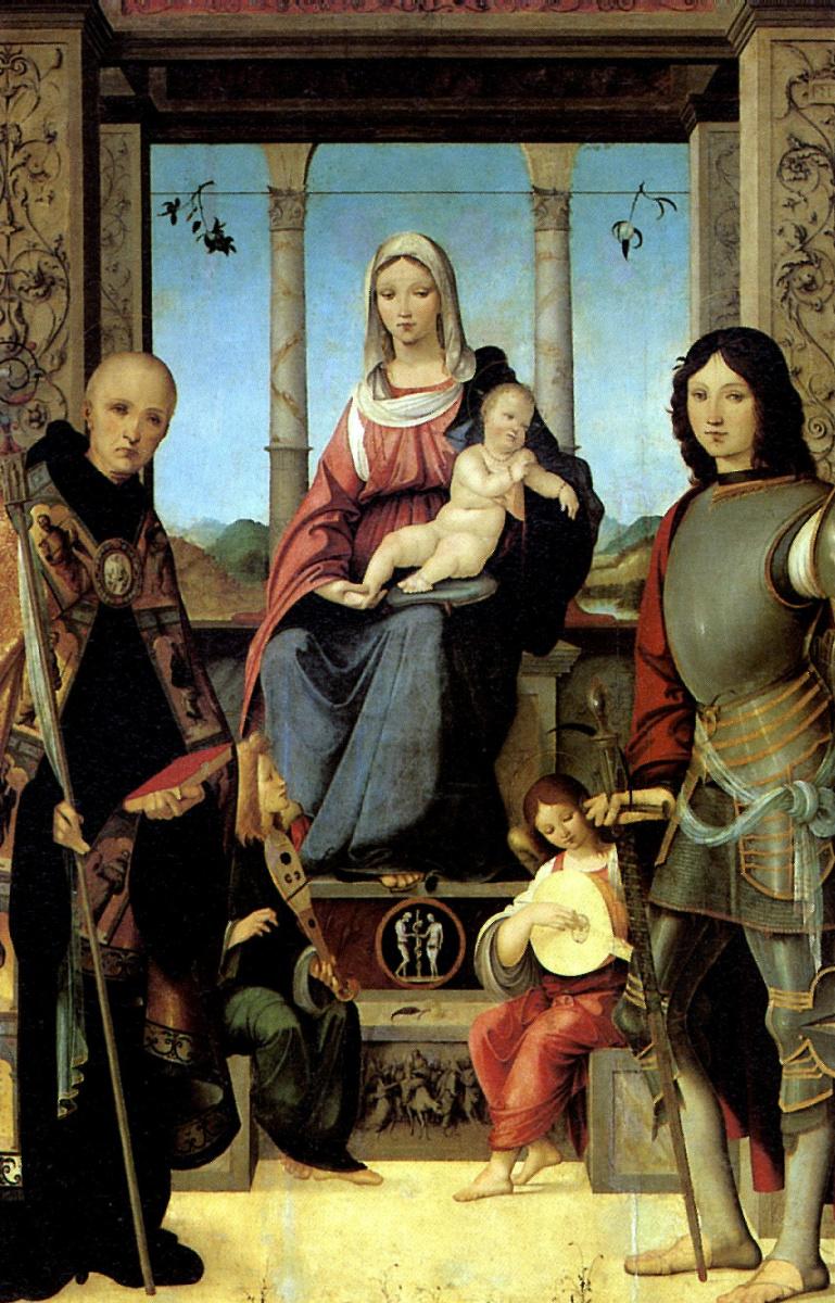 Франческо Мармитта. Мадонна с младенцем, со святыми Бенедиктом и Квентином и двумя ангелами