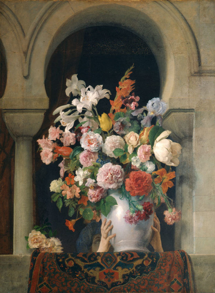 Vase of flowers on the window of the harem